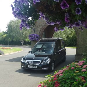 Hearse Framed by Flowers